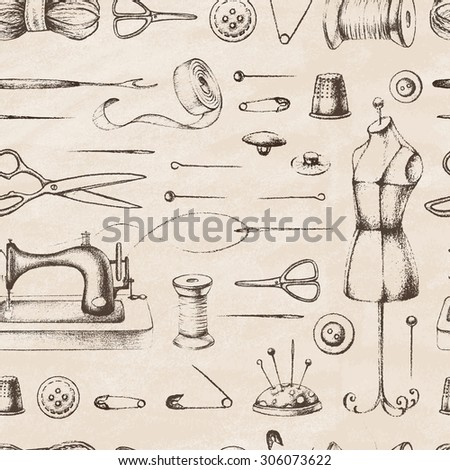 Set of needlework - scissors, measuring tape, mannequin, sewing. Retro vintage style. Seamless pattern. Vector illustration. - stock vector