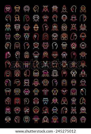 Set of neon avatars. Isolated vector icons on black background.  - stock vector
