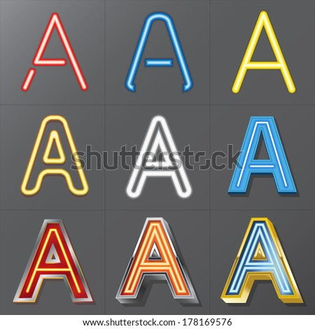 Set of Neon Style Alphabet A, Eps 10 Vector, Editable for Any Background, No Clipping Masks - stock vector