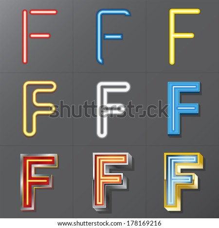 Set of Neon Style Alphabet F, Eps 10 Vector, Editable for Any Background, No Clipping Masks - stock vector