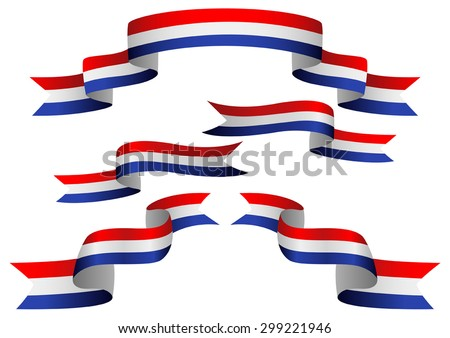 Set of Netherlands insignia in different shape of ribbons - stock vector