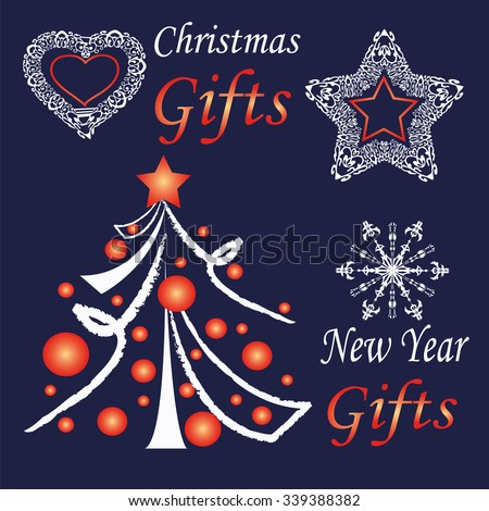 Set of New Year and Christmas symbols on dark blue background. Decorative tree, star, snowflake, heart - stock vector