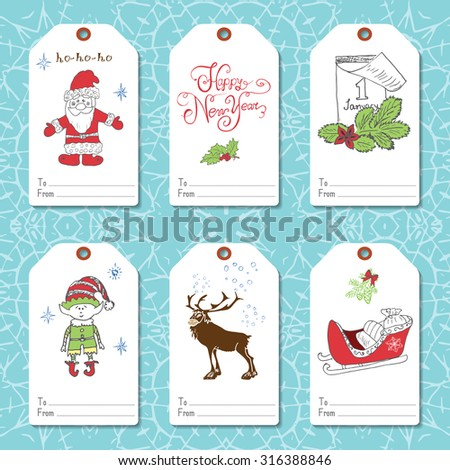 Set of New Year gift tags vector template, Hand drawn Sketch elements with Lettering set. Present cards design of happy new year 2016. Doodles and festive elements,  Vector Illustration.