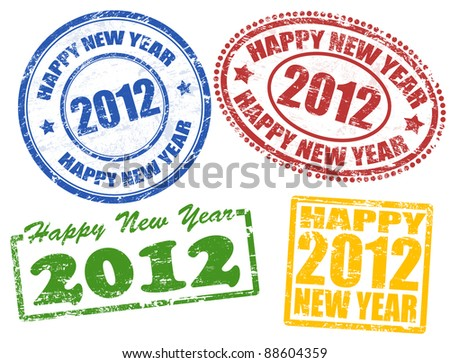 Set of 2012 new year grunge stamps, vector illustration - stock vector