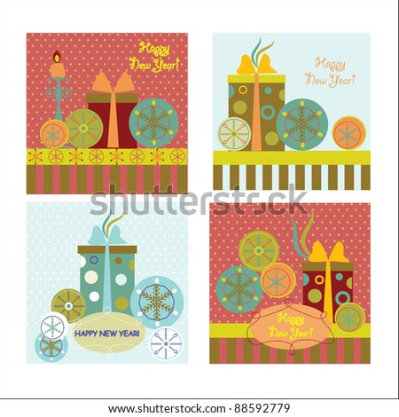 Set of  new year's cards - stock vector