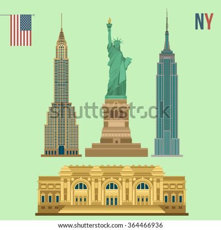 Set of New York Famous Buildings: Statue of Liberty, Metropolitan Museum of Art, Empire State Building, Chrysler Building - stock vector