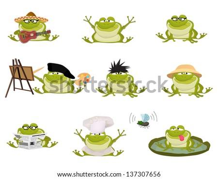 Set of Nice cartoon vector toads - stock vector
