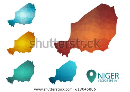 Set of Niger maps. Bright gradient map of country in low poly style. Multicolored country map in geometric style for your infographics. Vector illustration eps 10.