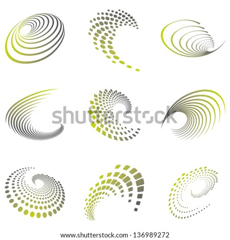 Set of nine abstract wave icons and geometric shapes in grey and green shades. Can be used for party, business, technology, sports, motion, promotion, etc. - stock vector