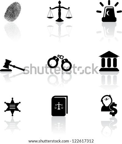 Set of nine black justice icons - stock vector