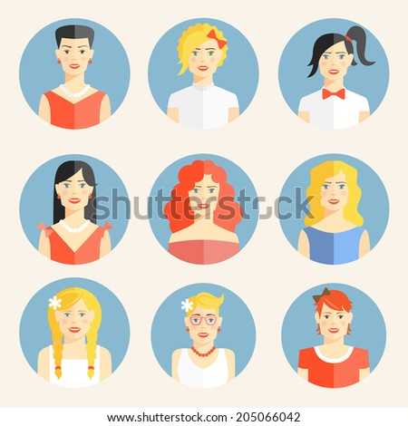 Set of nine color flat round icons with portraits of fashionable young  blond  brunette or red-haired women  with elegant clothes and different fancy hairstyles and accessories  as necklaces or bows - stock vector