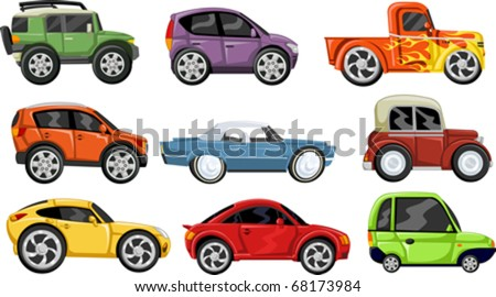 Set of nine colorful cartoon cars - stock vector
