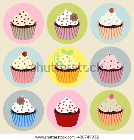 Set of nine cupcakes isolated on white background - stock vector