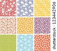 Set of nine cute elements seamless patterns backgrounds  with hand drawn elements - stock