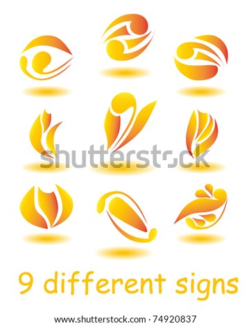 Set of nine different abstract signs for design as logo isolated on white background (vector version eps 10) - stock vector