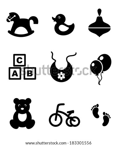 Set of nine different black and white baby icons depicting a rocking horse, duck, spinning top, abc blocks, bib, balloons, tricycle and footprints, vector illustration isolated on white - stock vector