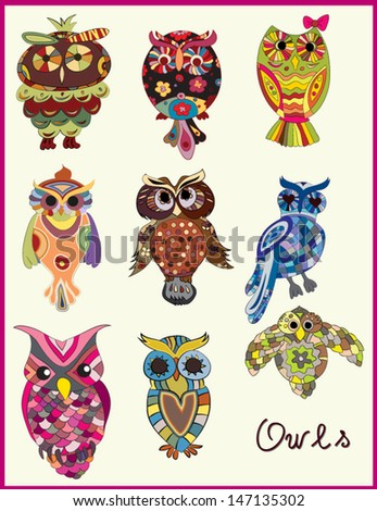 Set of nine different owls. Hand drawn. Vector illustration.