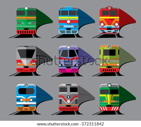set of nine different types of locomotives isolated on gray background. Front view. Vector illustration - stock vector