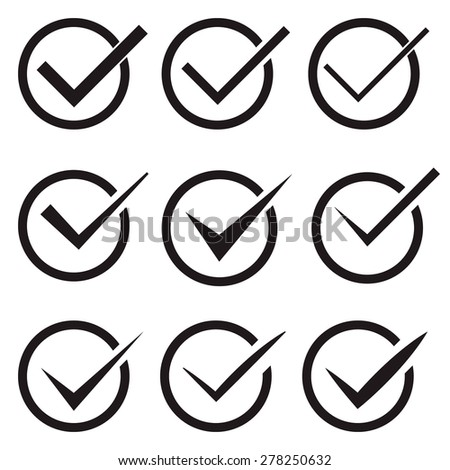 Set of nine different vector check marks or ticks in circles conceptual of confirmation acceptance positive passed voting agreement true or completion of tasks on a list - stock vector
