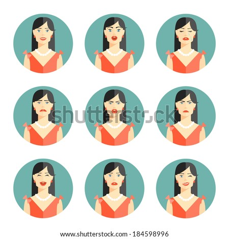 Set of nine different women emotions depicting happiness  joy  sadness  worry  anger  frustration  disbelief and confusion in head and shoulder pose in circular icons  vector illustration - stock vector