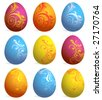 Set of nine Easter eggs - stock vector
