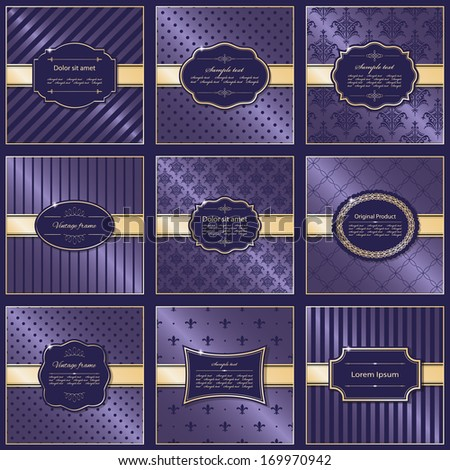 Set of nine elegant frames and pattern backgrounds in luxury stile. Vector illustration. - stock vector