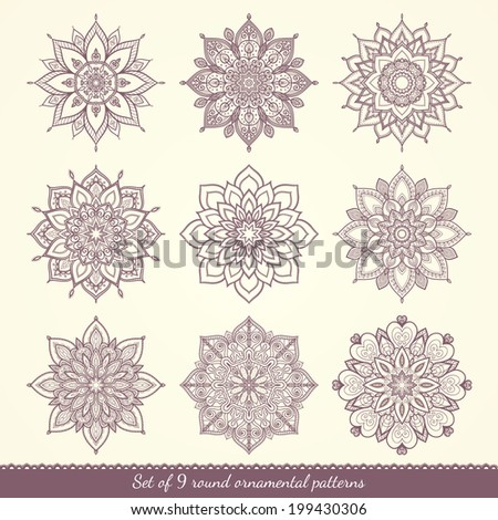 Set of nine ethnic ornamental floral patterns. Hand drawn mandalas. Lace circular ornaments. Vector illustration. - stock vector