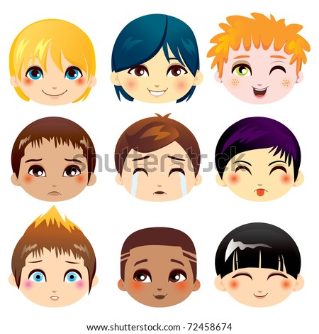 Set of nine facial expressions of little boys from various ethnic groups - stock vector