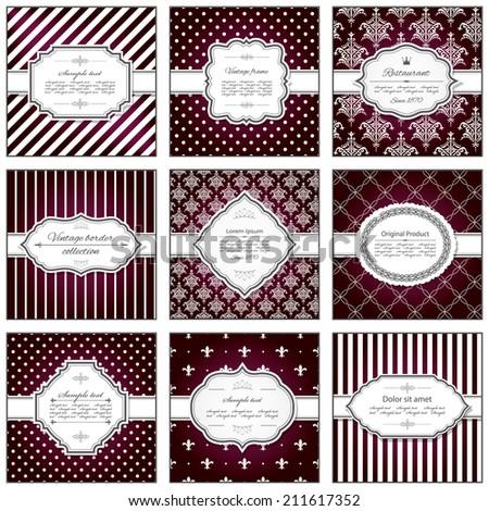 Set of nine filigree frames and pattern backgrounds.  - stock vector