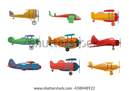 Set of  nine flat vector airplanes for computer games isolated on white background. Vector 10 EPS illustration. - stock vector