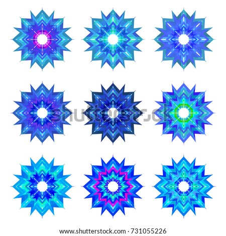 Set of Nine Fractal Symbols of Ice and Snow - Blue Purple Winter Icons on White Background