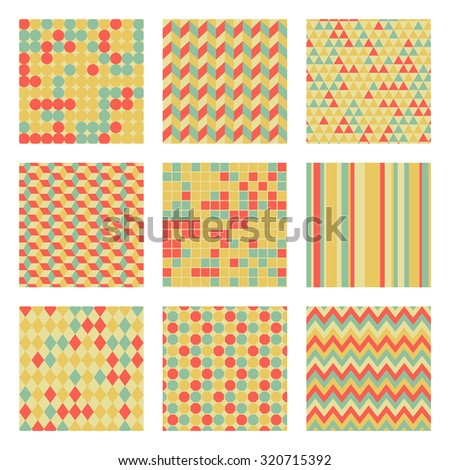 Set of nine geometric seamless tile patterns and backgrounds: retro colors