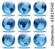 Set of nine globes showing earth with all continents. - stock photo