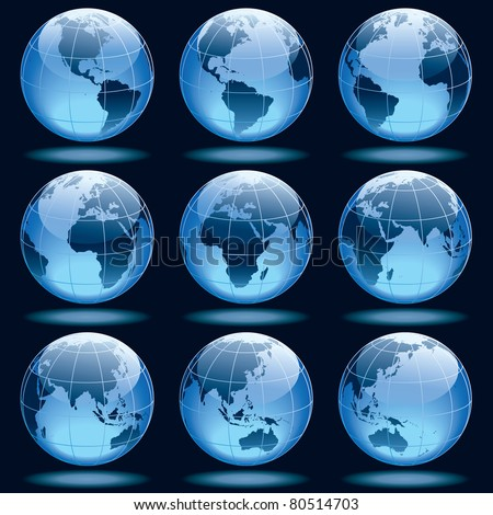 Set of nine globes showing earth with all continents. - stock vector