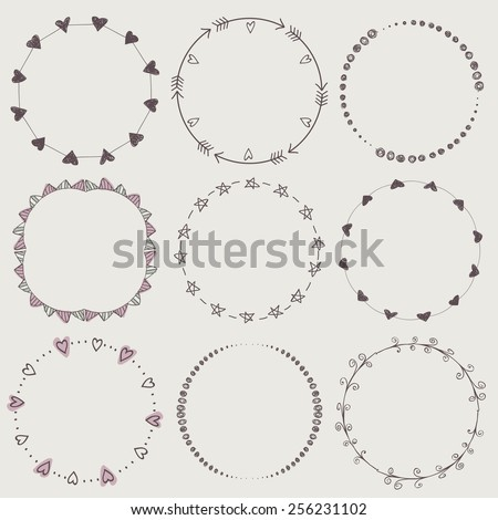 Set of nine hand-draw vector laurel wreaths. Sketch frames, hand-drawn in vintage style.  Vector illustration. Hand Drawn graphic elements. Decorative elements. - stock vector