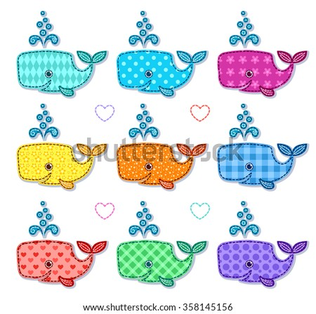 Set of nine happy color sperm whales. Vector cartoon illustration. Isolated on white. - stock vector
