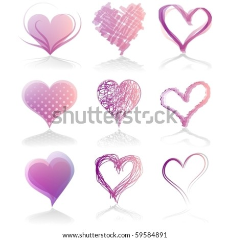 Set of nine hearts, vector illustration - stock vector