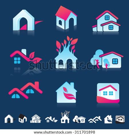Set Nine Icons Housing Real Estate Stock Vector 311701898 Shutterstock