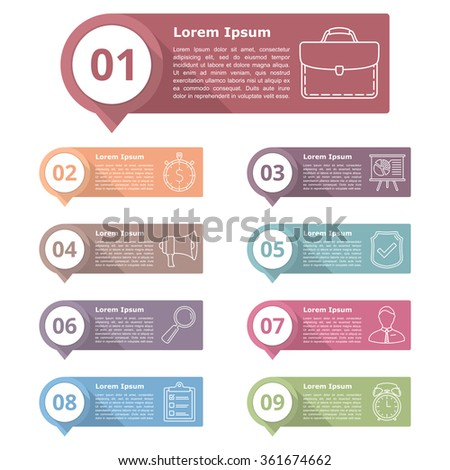 Set of nine infographics design elements for your text with numbers and line icons, vector eps10 illustration - stock vector
