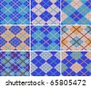 Set of nine knitted swatches with blue argyle pattern - stock vector