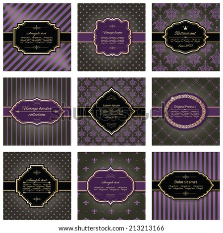 Set of nine luxury frames and pattern backgrounds in dark brown, purple and golden colors. - stock vector