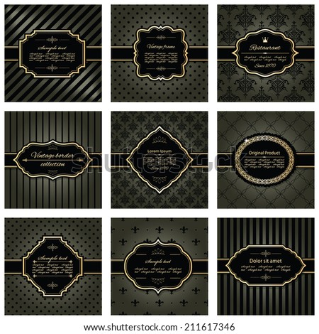 Set of nine luxury frames and pattern backgrounds in dark chocolate brown and golden colors. - stock vector