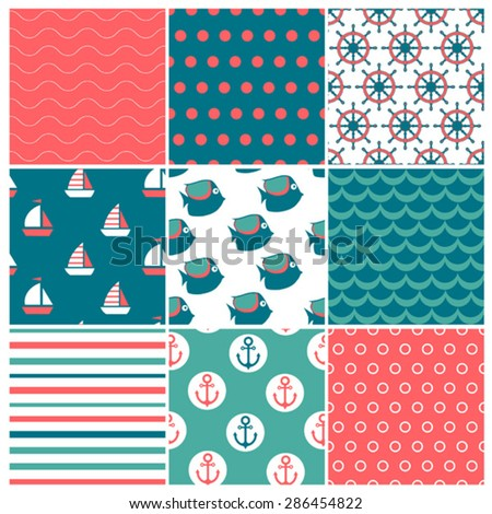 set of nine marine seamless patterns - stock vector