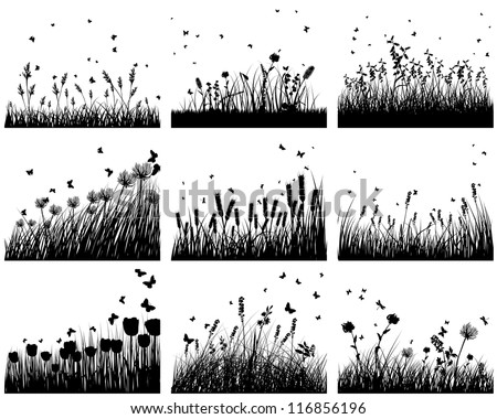 Set of nine meadow background. Vector illustration. - stock vector