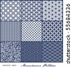 set of nine monochrome geometrical patterns (seamlessly tiling) - stock photo
