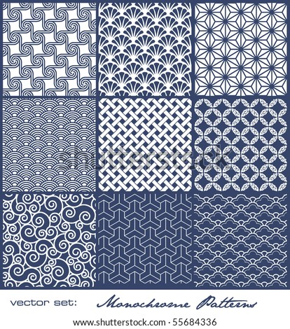 set of nine monochrome geometrical patterns (seamlessly tiling) - stock vector