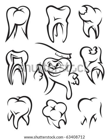 set of nine monochrome teeth - stock vector