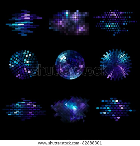 set of nine mosaic elements - stock vector