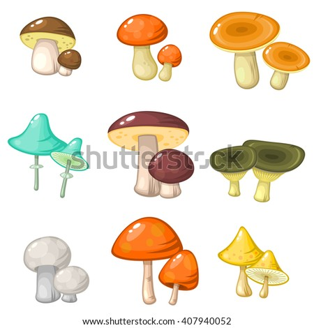 Set of nine pairs of various forest mushrooms isolated over white - stock vector