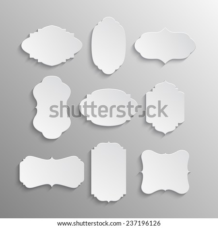 Set of nine paper labels in vintage style. Vector illustration.  - stock vector